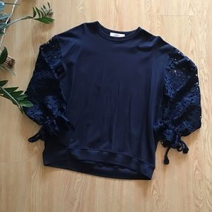 See by Chloe lace sleeve crewneck sweatshirt